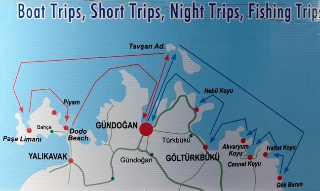 Gundogan Boat Trip Routes