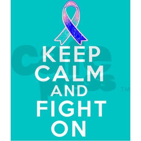 Thyroid Cancer Keep Calm Fight On Travel Mug on CafePress.com