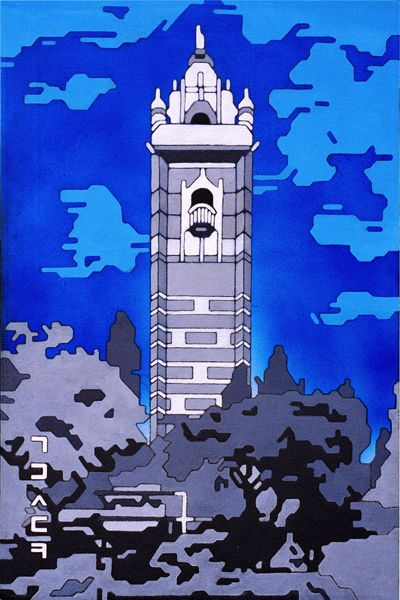 Cabot Tower fluorescent spray paint and acrylic on canvas