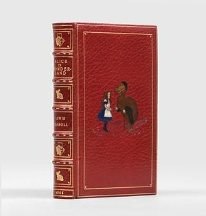 Bound by Bayntun (Riviere) in recent red crushed morocco, title to spine and motifs to compartments gilt, multicoloured morocco onlay of Alice and the Dodo to front cover, turn-ins and edges gilt, pale purple silk doublures, original cloth bound in at rear.