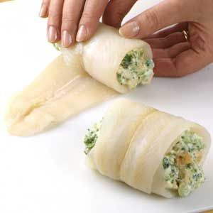 For a quicker fish recipe, cover the dish of rolled fish with vented plastic wrap and microwave on 100 percent power (high) for 8 to 10 minutes, rotating the dish a half turn mid-way through cooking. The rich, savory cream cheese filling is the perfect complement to lean sole in this fish dinner recipe.