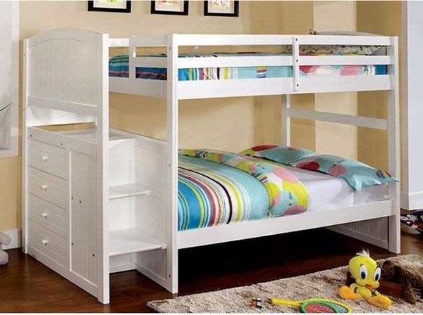 Appenzell Cottage White Solid Wood Veneer 4 Drawers Twin Twin Bunk