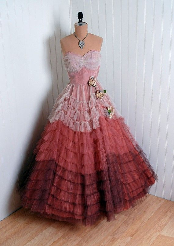 1950s Blush Pink To Mocha Mauve Ombre Tulle Gown Crazy
