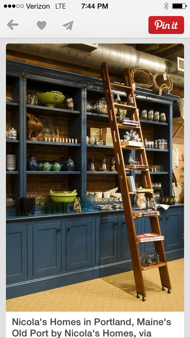 Blue Cabinet And Mahogany Ladder Made By Ron Bracy Of Pride Farm Furniture  Makers Of Maine