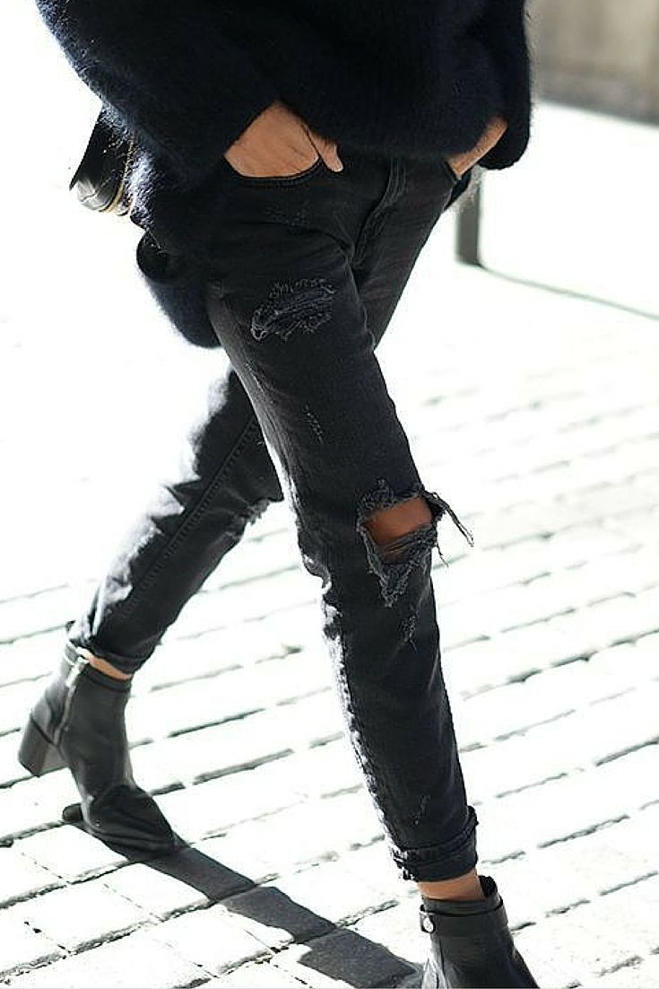 sneakers and pearls,street style, black ripped boyfriend jeans, winter, always trending.jpg