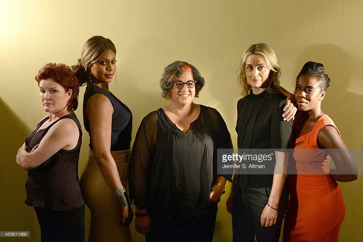 The cast of Orange is the New Black, Kate Mulgrew, Laverne Cox, creator Jenji Kohan, Taylor Schilling and Uzo Aduba are photographed for Los Angeles Times on July 23, 2014 at Kaufman-Astoria Studios in Queens, New York.