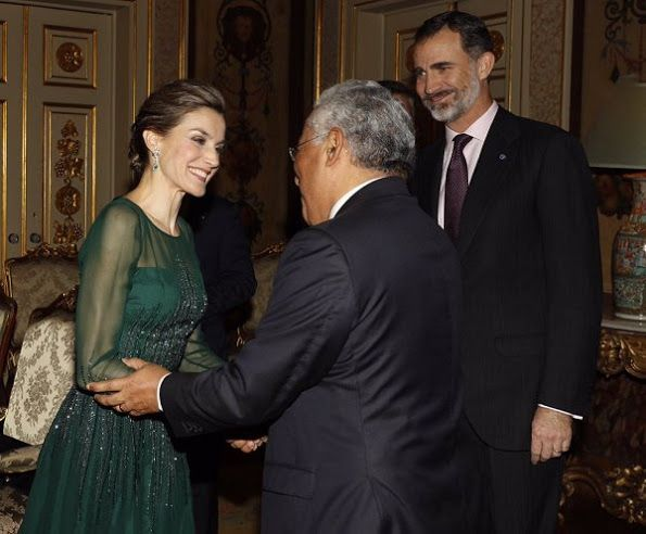 King Felipe of Spain and Queen Letizia of Spain, Portuguese Prime Minister Antonio Costa and his wife Fernanda Maria Goncalves Tadeu attended a official dinner held at the Necessidades Palace (Portuguese: Palácio das Necessidades) on November 29, 2016 in Lisbon, Portugal. Queen Letizia wears Felipe Varela Dress.