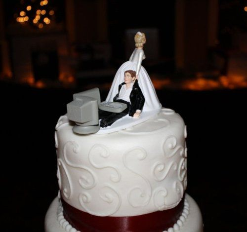 "VERY Appropriate for The Wedding Cake Topper for my wedding HA! My Boyfriend is a major computer geek! ""Game Over""! :) …well, not yet ha"