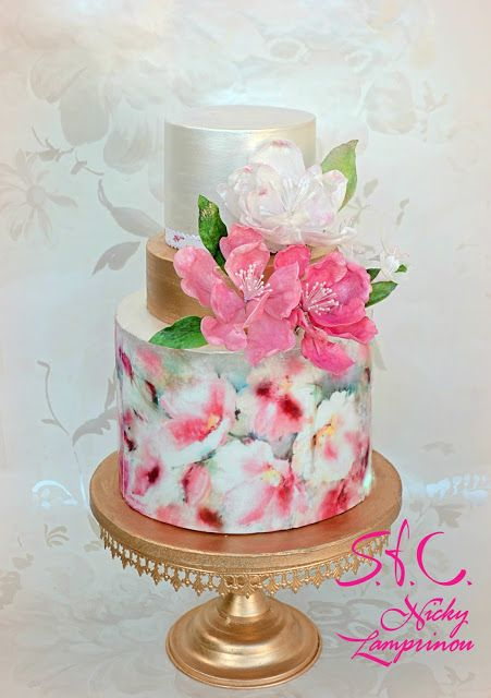 Sugar flowers Creations-Nicky Lamprinou: Wafer paper florist cake