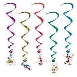 Hangdecoratie Whirls Circus -  Vijf prachtige hangdecoraties met onderaan een decoratie van een circus figuur. Lengte: 87.5cm.