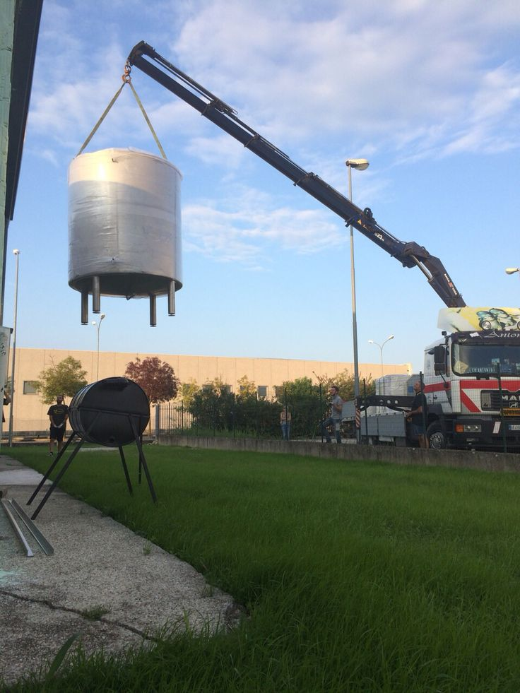 How don't trample the young garden!!! The ice water tank is flying over our brewery #crakingday