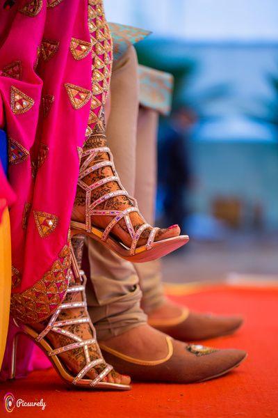 Wedding Shoes - Silver Strappy Heels for a Mehendi Function | WedMeGood #wedmegood #indianbride #indianwedding #weddingshoes #heels #silver #strappyheels