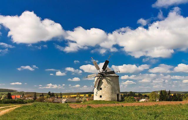 Tés község, windmill in SW Hungary
