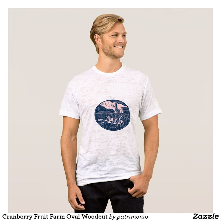 Cranberry Fruit Farm Oval Woodcut T-Shirt. Burnout t-shirt for men with an illustration of a cranberry fruit farm with a farmhouse,  barn and silo in the background done in retro woodcut style. #cranberry #farm #burnouttee