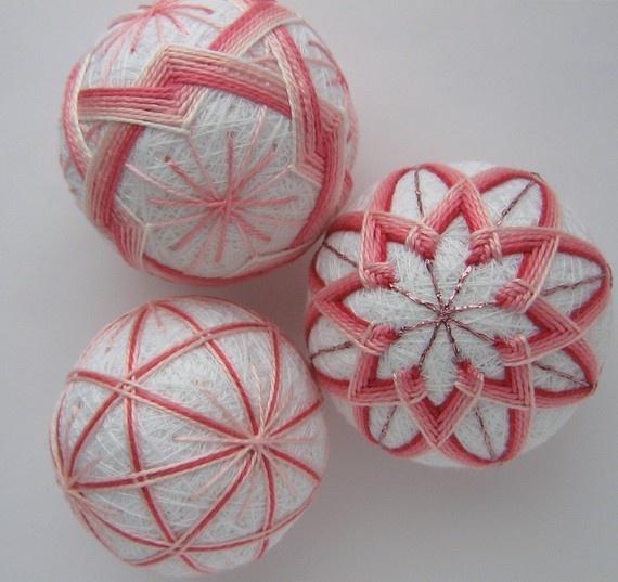 pink blush - hand embroidered thread balls - japanese temari