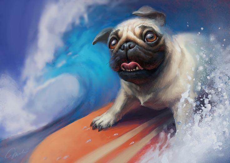 Surfing pug by MagdaPROski.deviantart.com on @DeviantArt