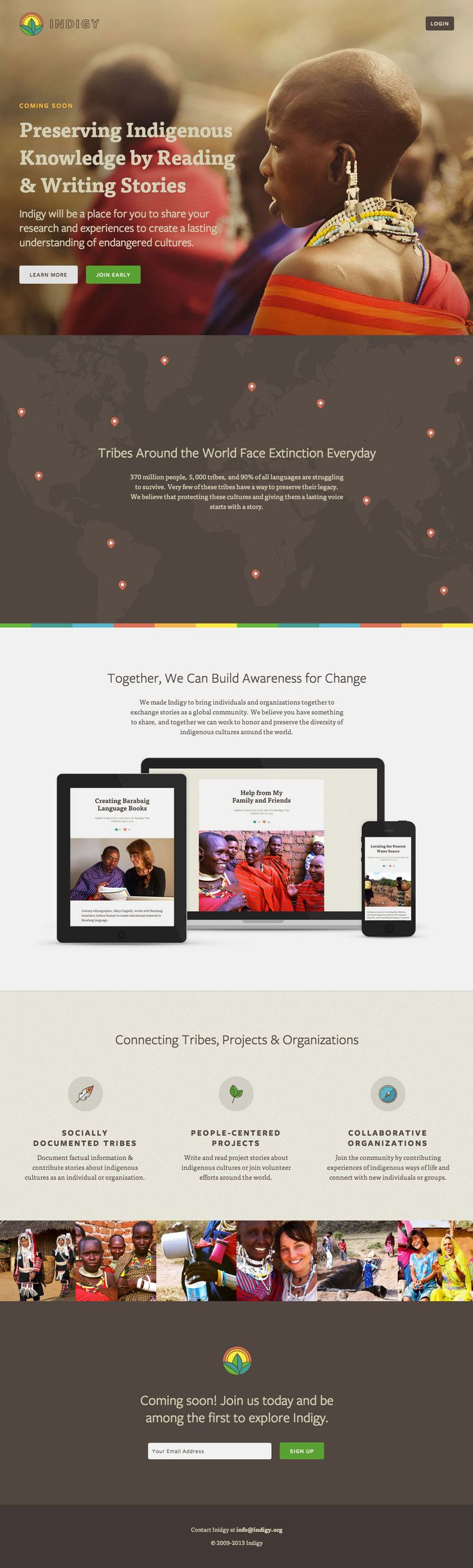 Elegant design in this responsive landing page for 'Indigy' - an upcoming portal to share your research.