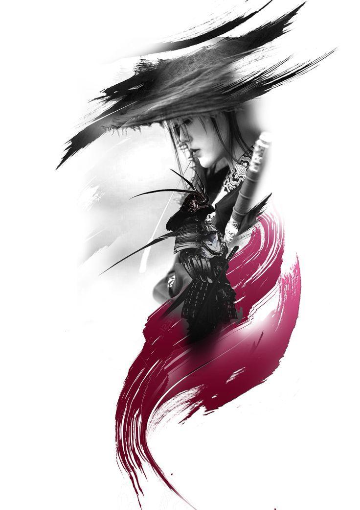 samurai japonese girl tattoo design – #Design #Gir…