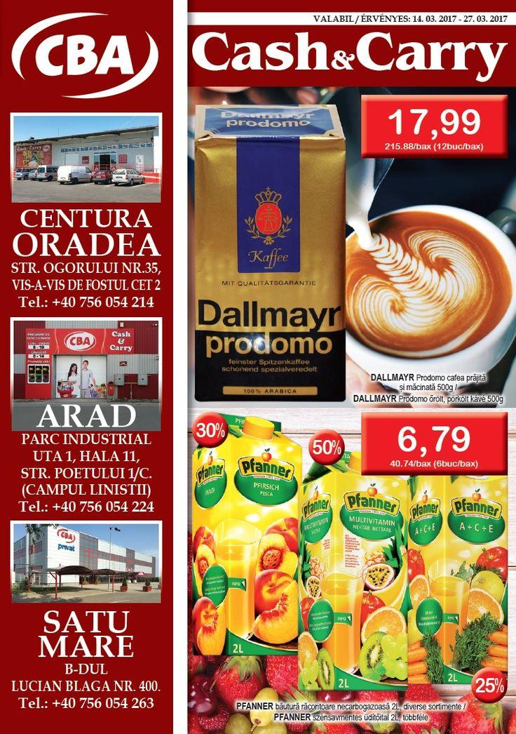 Catalog CBA Cash & Carry 14 - 27 Martie 2017! Oferte si recomandari: Dallmayr Prodomo cafea prajita si macinata 500 g 17,99 lei; Smetana frisca pentru gatit