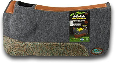 """(Product review for OrthoRide Correction Saddle Pad 1"""" Made in USA).   - The OrthoRideTM saddle pad is a contoured two-toned orthopedic grade felt saddle pad with Poron XRD and memory foam build-up is specifically designed to relieve shoulder strain and pressure. The OrthoRideTM Saddle Pad helps with hard to fit conformation, high withers, narrow shoulders or..."""