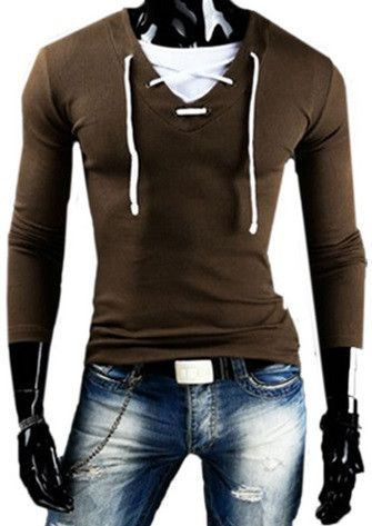 New Spring Hot Fashion Men Long Sleeve Solid V-neck T-shirt Male Cotton - Hot100Fashions