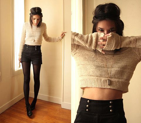 Who knew you could wear shorts AND a crop top in the middle of winter? Just make it a cropped sweater, and add tights and ankle boots.