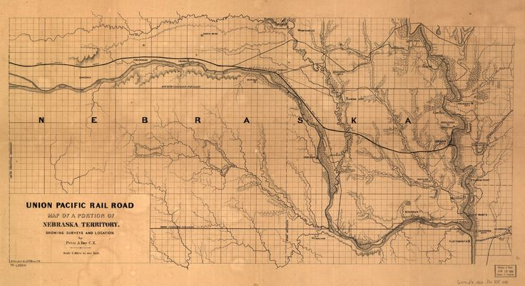 this is an 1865 union pacific railroad map of nebraska territory it shows several towns