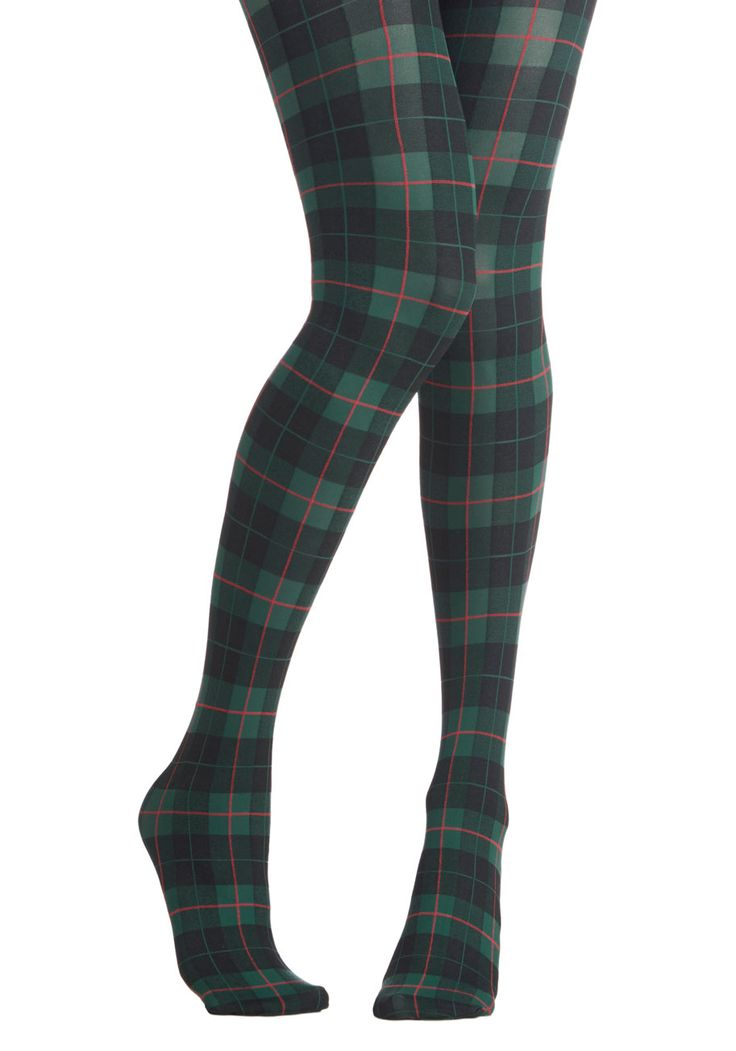 Extracurricular Edge Tights. Your vast and varied extracurricular activities give you an edge up on your applications, just as these snazzy plaid tights set your style apart from the rest! #green #modcloth