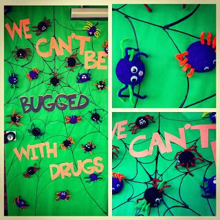 "red ribbon week door - ""We can't be bugged with drugs"""