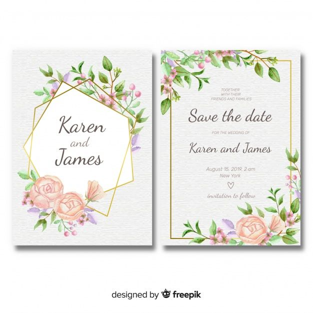 Baixe Modelo De Convite De Casamento Floral Com Moldura Dourada Gratuitamente Floral Wedding Invitations Wedding Invitation Templates Framed Wedding Invitations