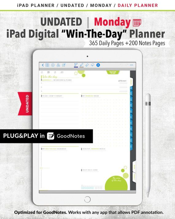 Win The Day Undated Daily Planner Goodnotes Papergoods Calendar