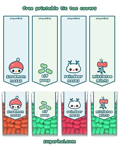 Super cute free printable Christmas tic tac labels. Make your own funny stocking stuffers, includes snowman noses, elf poop, reindeer noses, and mistletoe mints.