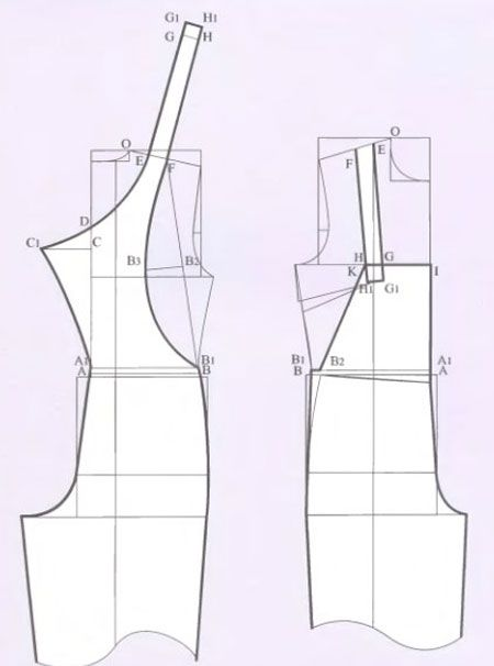 Russian site showing how to alter a standard pant and bodice pattern to create a pattern for overalls