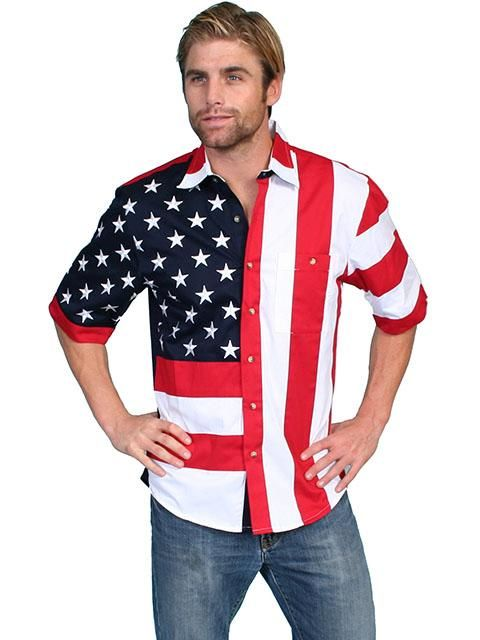 a924adf8b3e Men s Western Shirt Collection  Scully Show Your Stars   Stripes Short  Sleeves