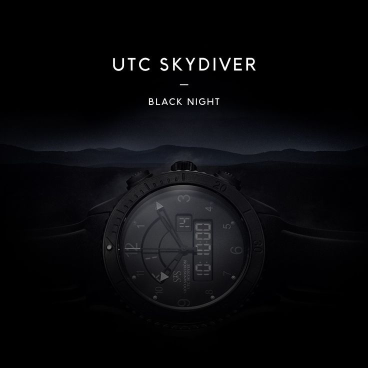 UTC Skydiver Black Night. #sjöösandström #sjoosandstrom #watch #watches #sweden #skydiver #pilot #utc #pilotwatch #aviation #airforce