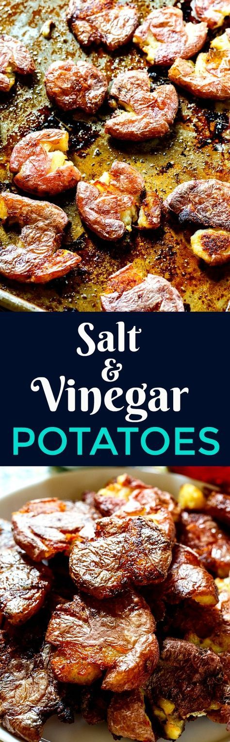 Roasted Salt and Vinegar Potatoes are creamy on the inside and crispy on the outside.
