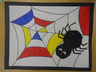 Mrs. T's First Grade Class: Mondrian Spider Art This is very similar to a project in my upper elementary group.