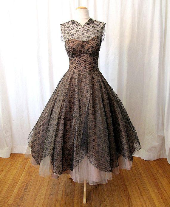 1950's Black Lace w/ Cream Tulle Dress