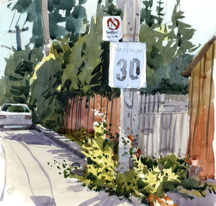 After a beautiful autumn weekend, it's back to school for me. I sketched on the way to class today, on a side street near the campus. I would have liked to add a few more details to this but …