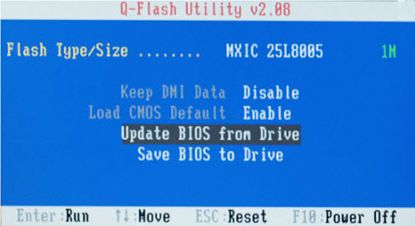 Q-Flash Utility v2.08 (Update BIOS from Drive)