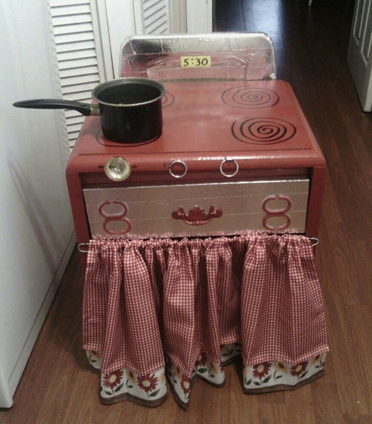 Up Cycled Childrens Play Stove Wooden Red Silver Kids Kitchen Facebook Shab  2 Chic Upcycled Furniture