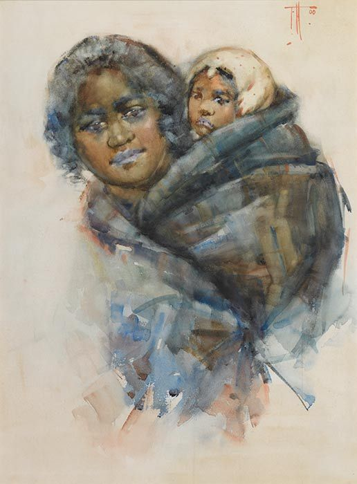 Frances Hodgkins, 'Maori woman and child'