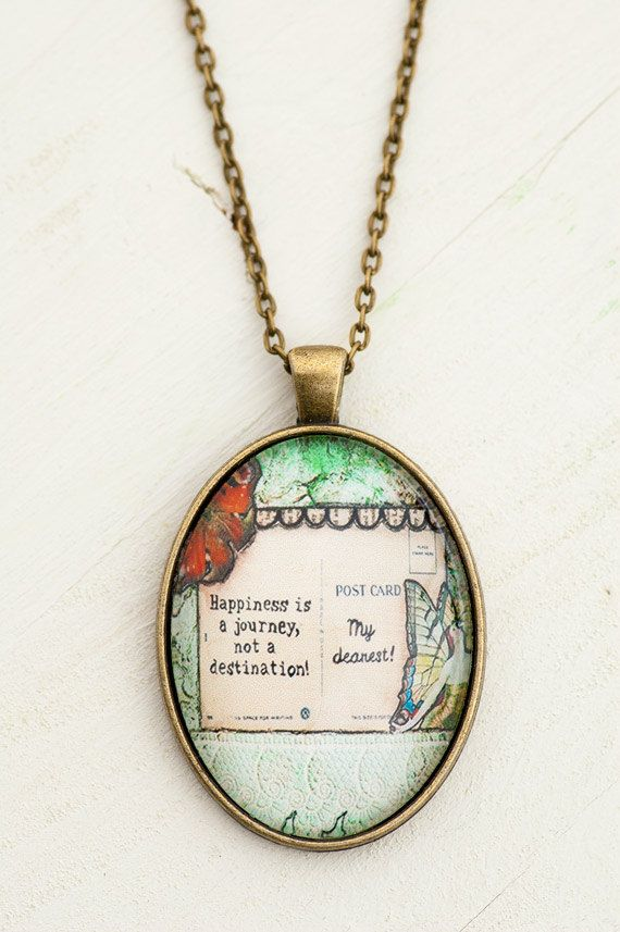 Happiness Quotes Inspirational Necklace Green Necklace