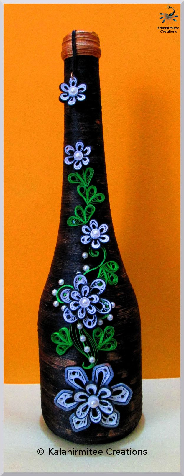 Recycled bottle with Quilling - quilled by: Kalanimitee Creations