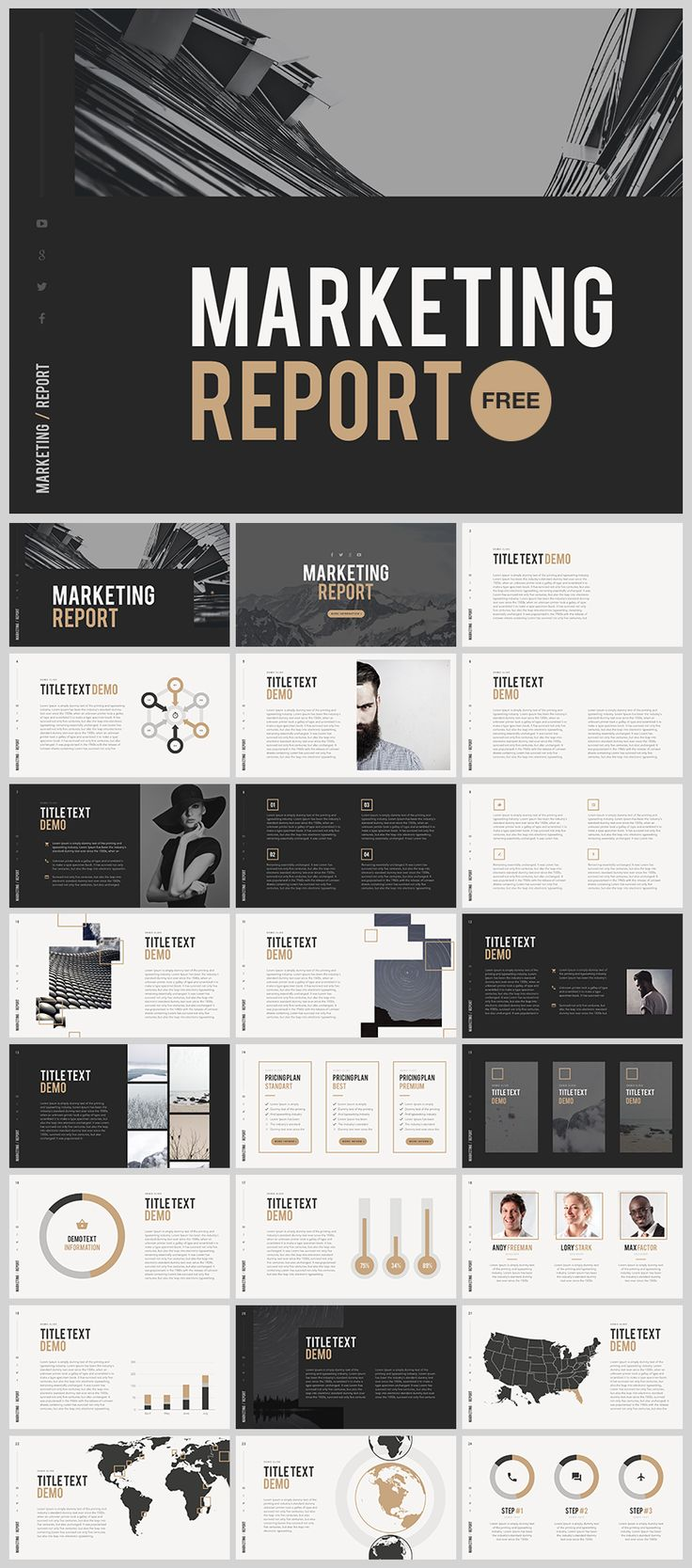 Marketing Report #Template #Powerpoint