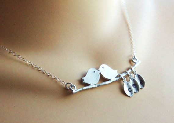 Personalized Mommy's Lovebirds Necklace Hand by RiverValleyJewelry, $36.00