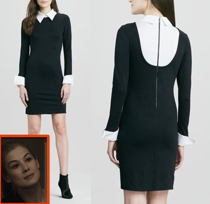 Gone girl movie clothes and fashion: Find out where Amy Dunne's (Rosamund Pike) black and white collar dress is from #gonegirl #amydunne #rosamundpike