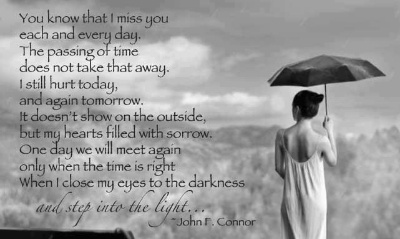 I Miss you every day, the passing of time does not take that away. I still hurt today and again tomorrow, it doesn't show on the outside but my hearts filled with sorrow. One day we will meet again only when the time is right, when I close my eyes to the darkness and step into the light.-----  Grief. Mourning. Death. Loss.  Rest in Peace