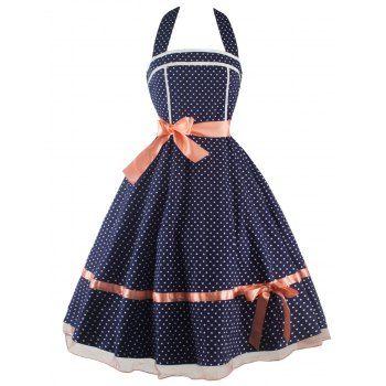 {$27.81 }  - Vintage Polka Dot Halter Dress
