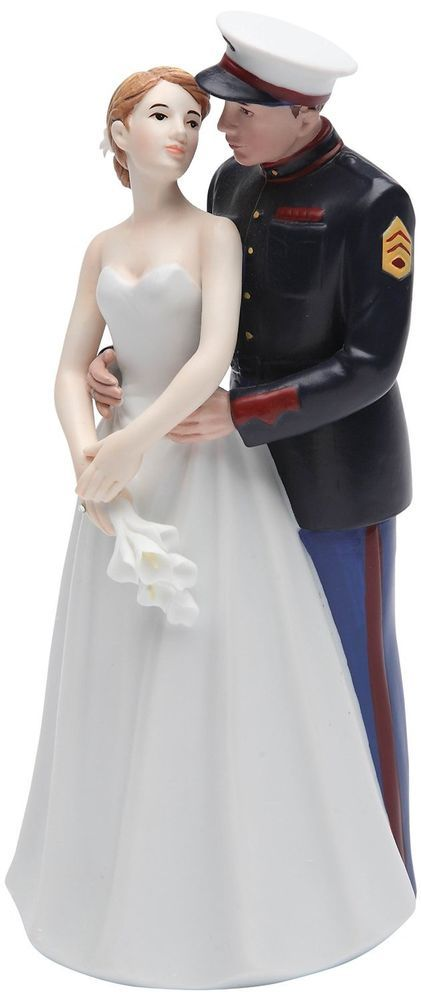 "USMC Wedding Cake Topper Ceramic Figurine, 7"" United States Marine Corps  #Unbranded"